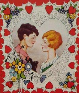 Valentines Day Postcard Lovers Inside Heart Embossed Unused Fancy Fruits Border