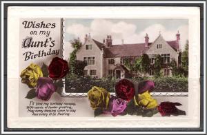 Wishes on My Aunt's Birthday Roses Scene RPPC