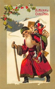 Red Suited Santa Claus Merry Christmas Bag of Toys Green Border Postcard