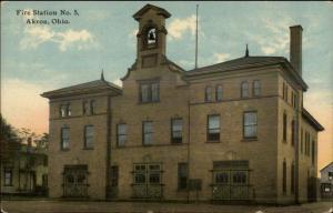 Akron OH Fire Station #5 c1910 Unused Postcard