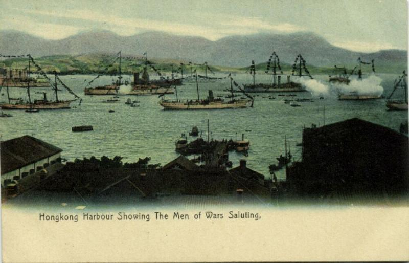china, HONG KONG, Harbour showing The Men of Wars Saluting (1910s)