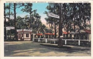 BRUNSWICK, Georgia, 1900-1910's; Entrance, Palmetto Tourist Carmp