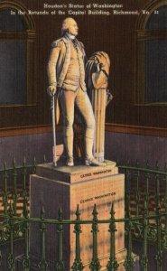 Richmond, VA, State Capitol, George Washington Statue, Vintage Postcard g9179