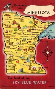 Minnesota Greetings With Map From The Land Of The Sky Blue Water Curteich
