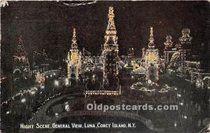 Amusement Park Postcard Post Card Night Scene, General View, Luna Park Coney ...