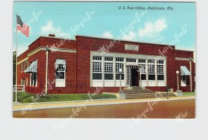 PPC POSTCARD ALABAMA ANDALUSIA U.S. POST OFFICE EXTERIOR STREET VIEW