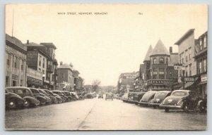 Newport Vermont~Main Street~Downtown~Montgomery Ward~1940s B&W Postcard