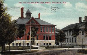 The Old and New High School, Platteville, Wisconsin, 1912 postcard, used