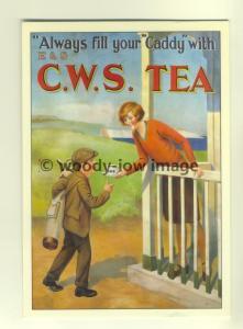 ad3304 -C.W.S Tea, Boy being handed a C.W.S Brew , Golf - Modern Advert Postcard
