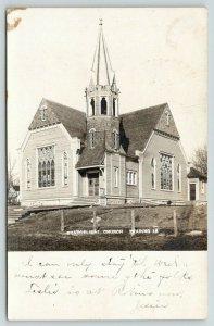 Zearing Iowa~Evangelical Church~Open Steeple~Stained Glass Windows~1907 RPPC