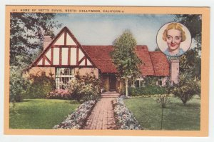 P2003, ca1942 postcard home of bette davis north hollywood calif unused