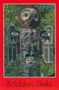 Ketchikan AK, Alaska - Sun and Raven Totem Pole - Roadside