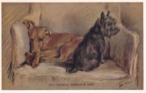 Its Lonely Without You Tailwagger Dog Valentines Dogs Pining Postcard