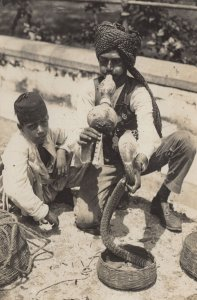 Indian Children Snake Charmer Antique Real Photo Postcard