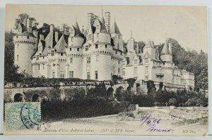 France Chateau d'Usse' 1906 to Paris Postcard Q1
