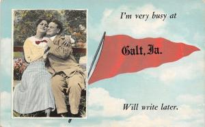 I'm Very Busy at Galt Iowa~Will Write Later~Romantic Couple~1914 Pennant PC