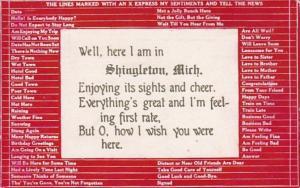 Michigan Shingleton Busy Persons Correspondence Card 1909