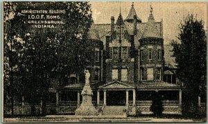 Greensburg, Indiana Postcard Admin. Building - I.O.O.F. HOME Orphanage c1900s