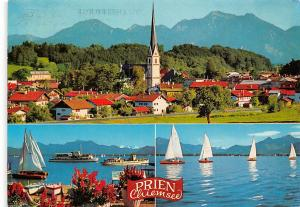 Prien Chiemsee Lake Boats Bateaux Lac Eglise Church Panorama