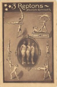 CIRCUS 3 Reptons c1920 Postcard Gymnastic Dance Troup Athletic Performers