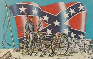AS H. Wolfersberger, Confederate Soldier, Flag and Canon, 50-60s