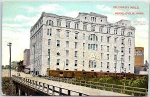 Minneapolis, Minnesota Postcard PILLSBURY MILLS Flour Mill w/ Bridge View