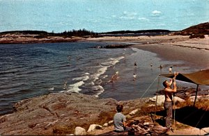 Maine Small Point Hermit Island Campgrounds Pitching Camp and Sand Dune Beach