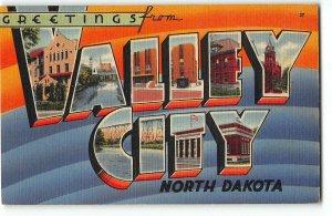 VALLEY CITY, NORTH DAKOTA Large Letter Linen Postcard c1940 - Mercy Hospital