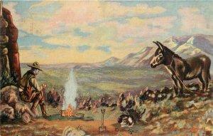 PRECIOUS GOLD Western Cowboy Painting By LH Dude Larsen Vintage Postcard 1939