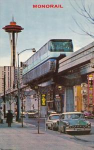 Washington Seattle Monorail and Space Needle 1962