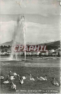 Postcard Modern Geneve the water jet (120 m) and white mt