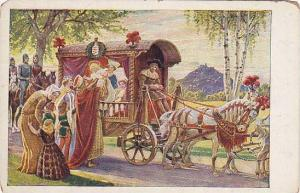 Die heilige Elifabeth Child being lifted out of horse drawn carriage, PU-1962