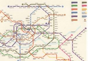 Seoul Korea Tube Train Underground Subway Map Postcard