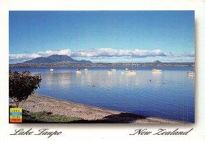 New Zealand Lake Taupo Boats Panorama Postcard