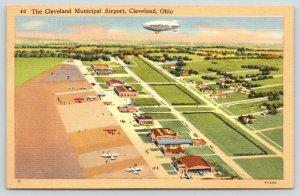 Cleveland Ohio~Goodyear Blimp Over Municipal Airport~Planes~1940s Linen Postcard