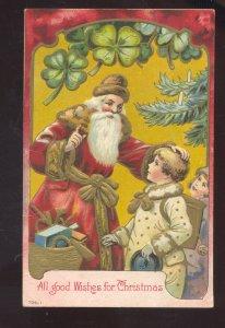 SANTA CLAUS LARGE FULL PINK ROBE VINTAGE CHRISTMAS POSTCARD WARRENSBURG MO