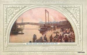 C-1910 Bridge Chicago River Illinois undivided postcard 11281