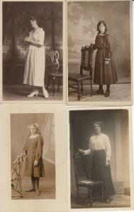 Women portraits near vintage chairs early photo postcards x 4