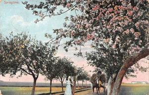 Springtime Blooming Trees, horse carriage, Lovers, Romance