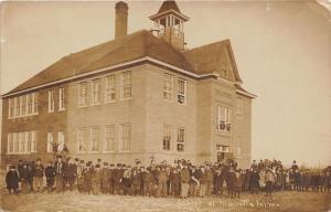 Marietta Minnesota~Public School Building~All Students Outside & Window~'10 RPPC