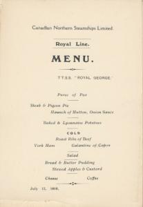 Royal Line Ocean Liner T.T.S.S. ROYAL GEORGE 1910 ; Menu