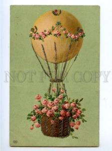 169914 BALLOON w/ ROSES Flowers vintage EMBOSSED PC