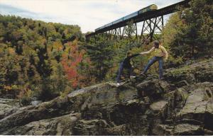 VIA's Train 133, Steel Train Bridge, Hiking Rocks, Maskinoge River, Ste. Ursu...