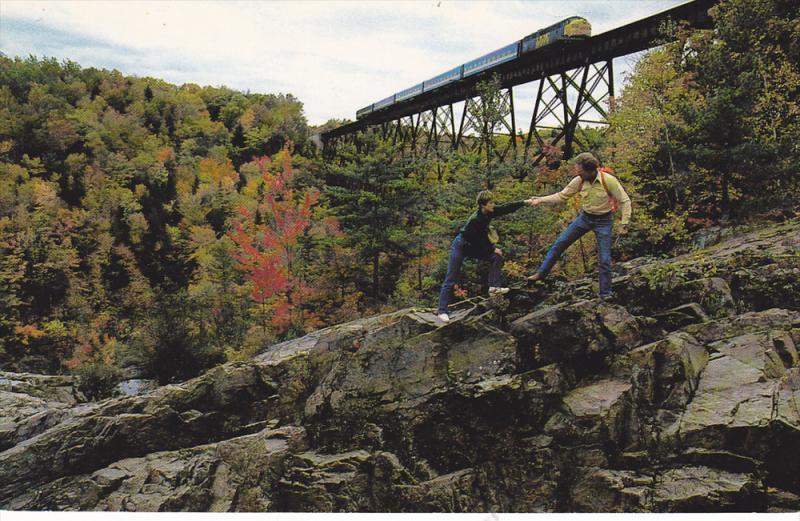 VIA's Train 133, Steel Train Bridge, Hiking Rocks, Maskinoge River, Ste. Ursu...