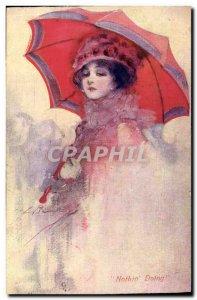 Old Postcard Fantasy Illustrator Woman Doing Nothing