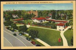 California SACRAMENTO Sutter's Fort St. Francis Church in Background - LINEN