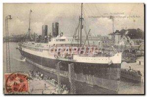 Postcard Old Ship Ship Saint Nazaire The Spanish ship leaves port