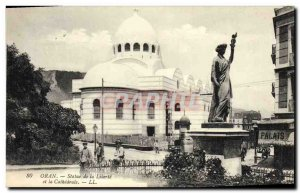Old Postcard Statue of Liberty and the cathedral Algeria Oran