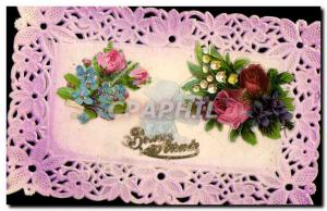 Old Postcard Fancy Embroidery Flowers