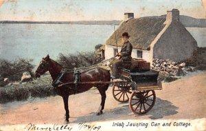 Irish Jaunting Car and Cottage Ireland 1909 Missing Stamp